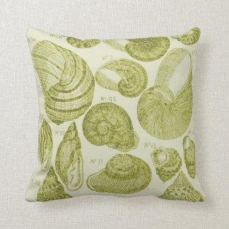 Sea Shell Sketch, Lime Green Throw Pillow