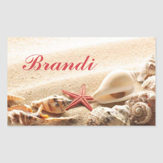 Sea Shell & Starfish Stickers with Name