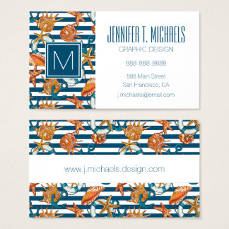 Sea Shells And Anchor Pattern Business Card