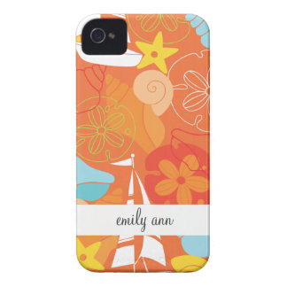 Sea Shells and Boats on Orange Pattern iPhone 4 Cover