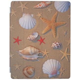 Sea Shells And Starfish Arranged On Sand iPad Cover