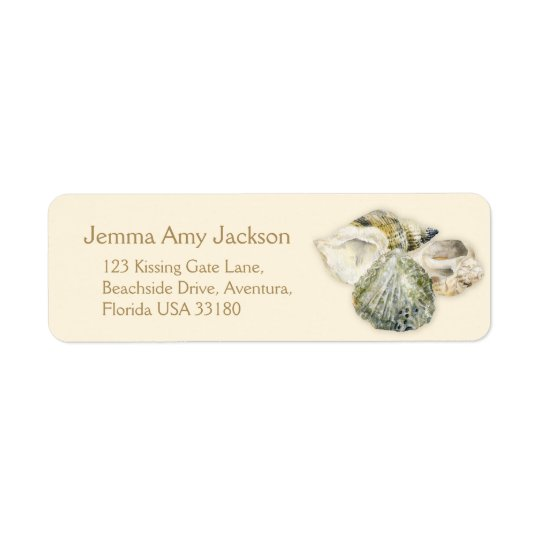 Sea shells art cream wedding return reply label