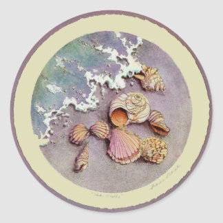 SEA SHELLS by SHARON SHARPE Classic Round Sticker