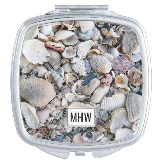 Sea Shells custom monogram pocket mirror