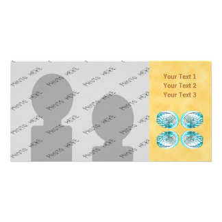 Sea Shells Design, Turquoise and Yellow. Personalized Photo Card