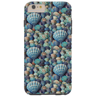 Sea Shells in Blues, Blue Greys, Aqua, Sea Foam Tough iPhone 6 Plus Case