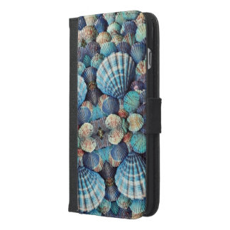 Sea Shells, Light Blues, Dark Blues, Aquas iPhone 6/6s Plus Wallet Case