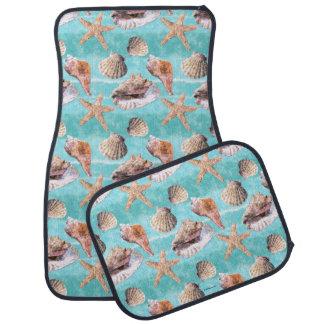 Sea Shells Ocean Blue Stripe Auto Mat