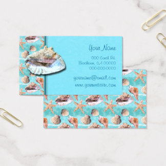 Sea Shells Ocean Blue Stripe Business Card