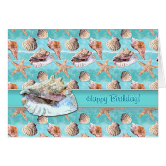 Sea Shells Ocean Blue Stripe Card