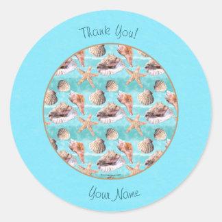 Sea Shells Ocean Blue Stripe Classic Round Sticker