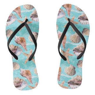 Sea Shells Ocean Blue Stripe Flip Flops