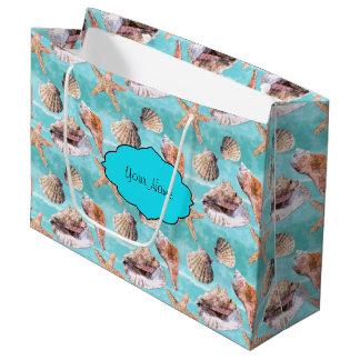 Sea Shells Ocean Blue Stripe Large Gift Bag