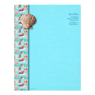 Sea Shells Ocean Blue Stripe Letterhead