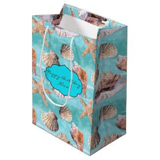 Sea Shells Ocean Blue Stripe Medium Gift Bag
