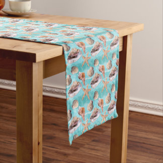 Sea Shells Ocean Blue Stripe Medium Table Runner