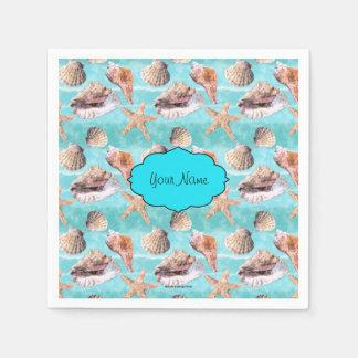 Sea Shells Ocean Blue Stripe Napkin