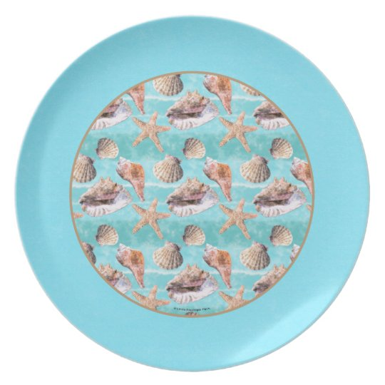 Sea Shells Ocean Blue Stripe Plate