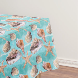 Sea Shells Ocean Blue Stripe Tablecloth
