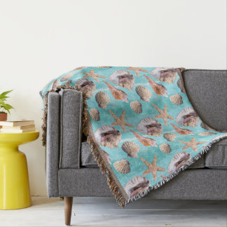 Sea Shells Ocean Blue Stripe Throw Blanket
