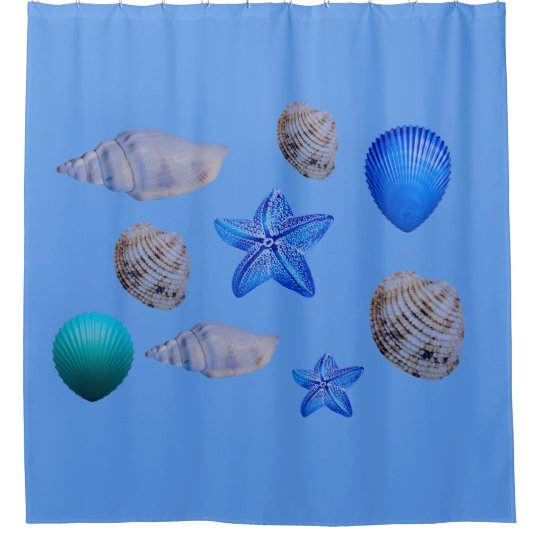 Sea shells on a shower curtain