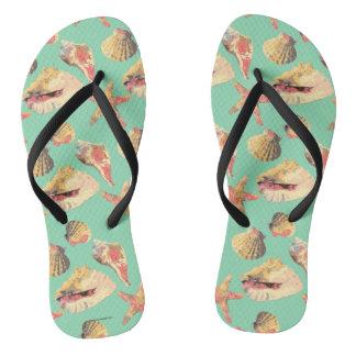 Sea Shells on Aqua Flip Flops