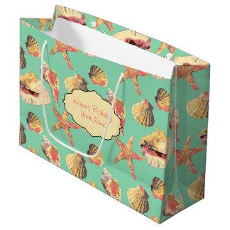 Sea Shells on Aqua Large Gift Bag