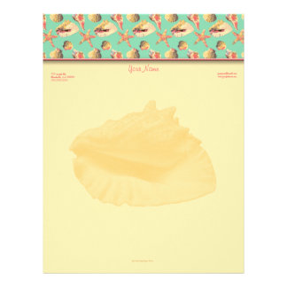 Sea Shells on Aqua Letterhead
