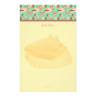 Sea Shells on Aqua Stationery