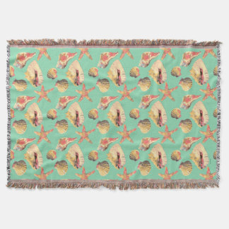 Sea Shells on Aqua Throw Blanket