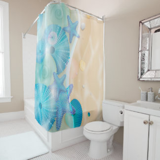 Sea shells On Beach Background Shower Curtain