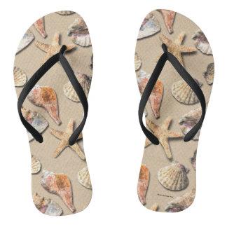 Sea Shells on Beach Sand Flip Flops