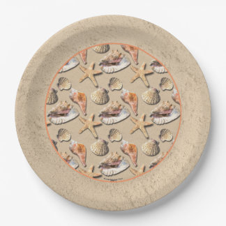 Sea Shells on Beach Sand Paper Plate