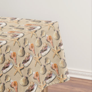 Sea Shells on Beach Sand Tablecloth