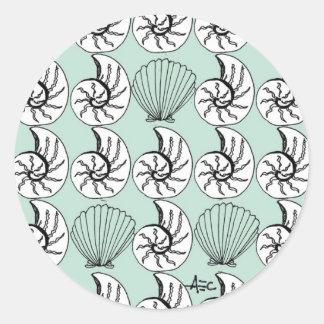 Sea Shells Pattern Seafoam Green Round Sticker