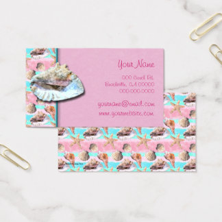 Sea Shells Pink and Turquoise Watercolor Business Card