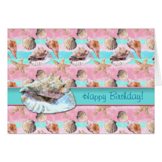 Sea Shells Pink and Turquoise Watercolor Card