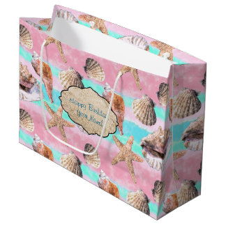 Sea Shells Pink and Turquoise Watercolor Large Gift Bag