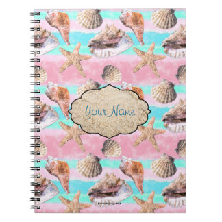 Sea Shells Pink and Turquoise Watercolor Notebook