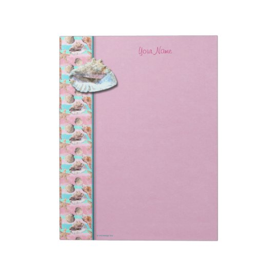 Sea Shells Pink and Turquoise Watercolor Notepad
