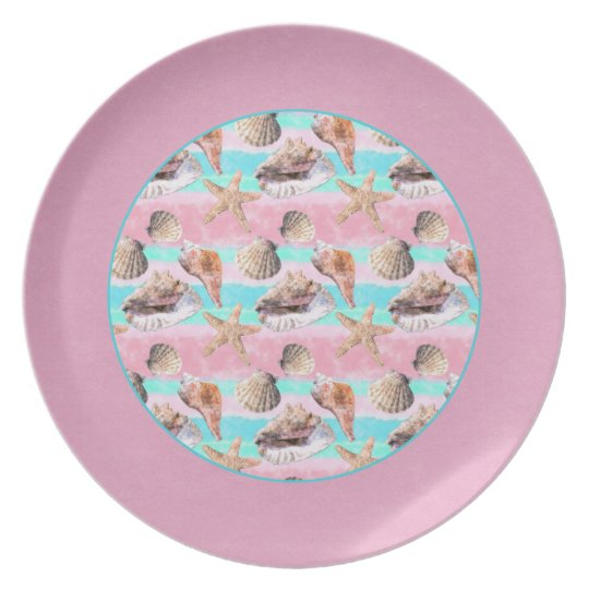 Sea Shells Pink and Turquoise Watercolor Plate
