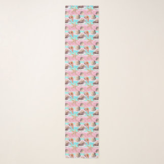 Sea Shells Pink and Turquoise Watercolor Scarf