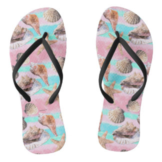 Sea Shells Pink and Turquoise Watercolor Stripes Flip Flops