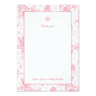 Sea Shells Pink Baby Shower thank you notes Card