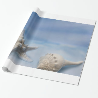 Sea Shells Star Fish Hand Painted Blue Watercolor Wrapping Paper