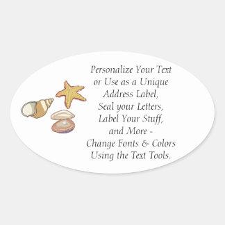 Sea Shells Oval Sticker
