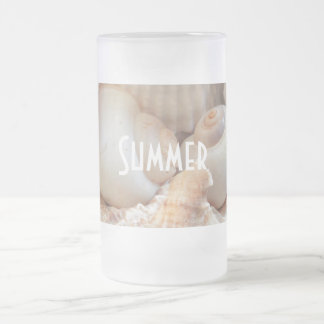 Sea Shells, Summer Beach Exotic Tropical Romantic Frosted Glass Beer Mug