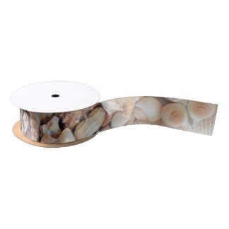 Sea Shells, Summer Exotic Tropical Photography Satin Ribbon