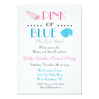 Sea Shells Summer Gender Reveal Invitation