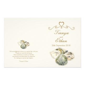 Sea shells watercolor art wedding programme flyer